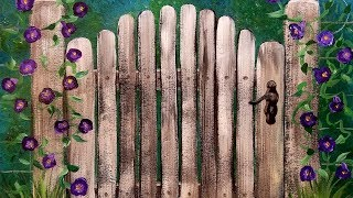 Easy Acrylic Tutorial Gate with Morning Glory Flowers LIVE Step by Step Beginner Painting