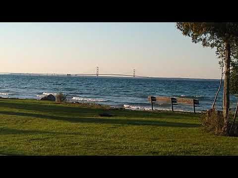 End of August view of Mackinaw Bridge.