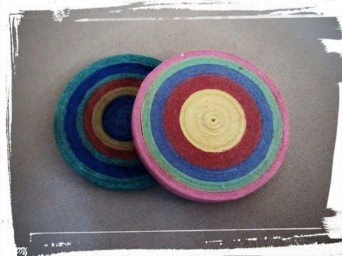 Como hacer un posa-vasos con tiras de papel o serpentina