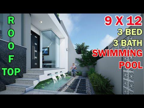 rumah minimalis split level 1,5 lantai di lahan 9x12 meter 3 kamar 4 toilet kolam renang rooftop
