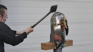 Helmet tests, part 4 - Unexpected weapon failure! (vs. Anglo-saxon helmet)