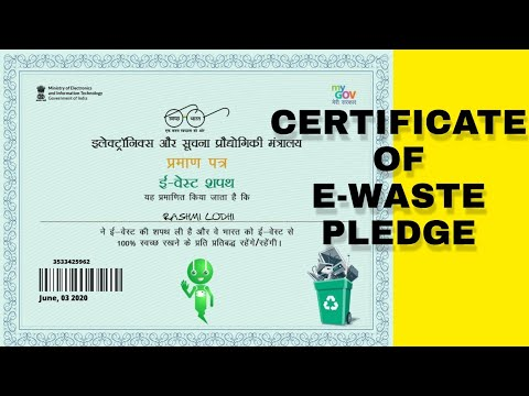 Certificate of e-waste    by MINISTRY OF ELECTRONICS AND ...