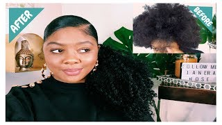 Sleek Low Ponytail on THICK and KINKY Type 4 Natural Hair | Make A DIY Drawstring Ponytail