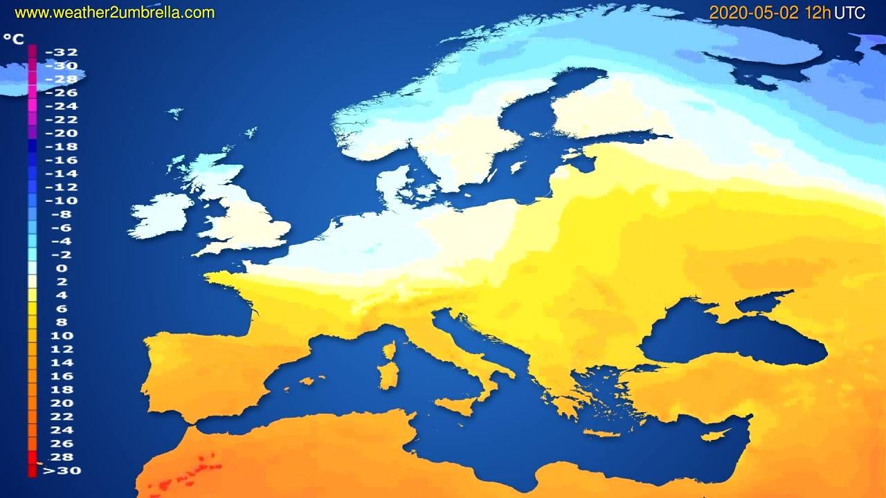 Temperature forecast Europe // modelrun: 00h UTC 2020-05-02