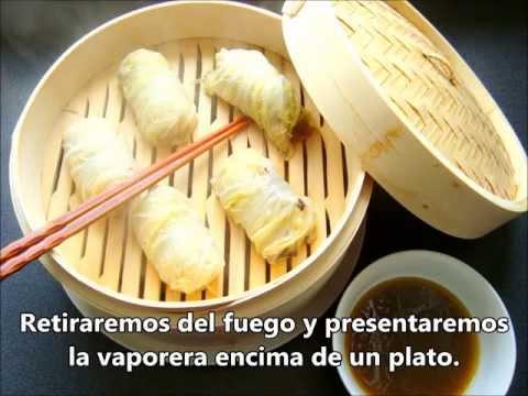 Dumplings de Col China con Gambas, Champiñones y Dátiles