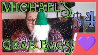 Unboxing my Michael's $4 Grab Bag Haul. Lots of fun Christmas Items 🎄
