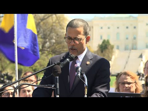 Democratic lawmakers joined in a rally in Washington on Wednesday to support transgender service members against the ban of transgender from serving in the military. (April 10)