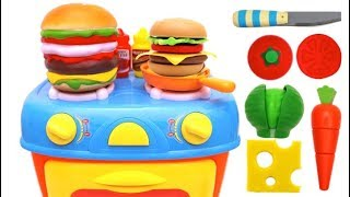 Toy Kitchen Playset Making Hamburger Learn Food Names Toy for Kids