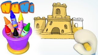 NuNi Art | Sand castle drawing for kids| coloring videos