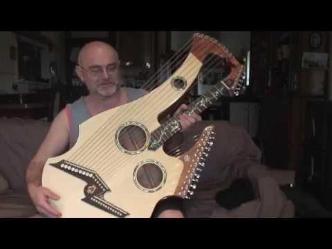 , title : 'Lyndon Kriss' harp guitar by Sandy Richards, Richards Guitars Ballarat'
