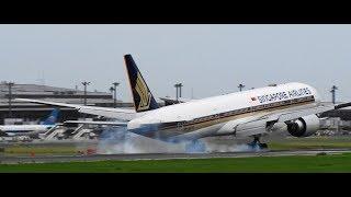 ✈✈台風21号の影響で荒れる成田空港強風着陸MD-11FBoeing787Boeing777LandingNaritaRWY16R成田空港