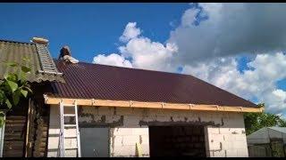 Постройка гаража на месте демонтированного сарая | Пристрой из газобетона.