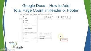 Google Docs -  How to display total page count