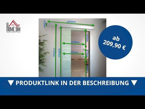 Glasschiebetür mit Griffstange Streifen satiniert  2050 x 1025 mm - direkt kaufen! - Aosom.de