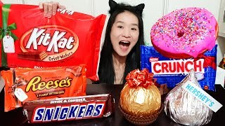 GIANT CHOCOLATE & CANDY BAR FEAST! Hersheys, Kit Kat, Snickers, Reeses Peanut Butter Cup - Mukbang