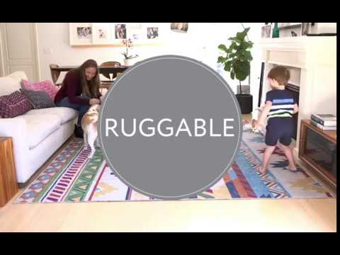 Video for 2-pc Washable Rug System: 3 Ft x 5 Ft Aqua/White Floral Tiles