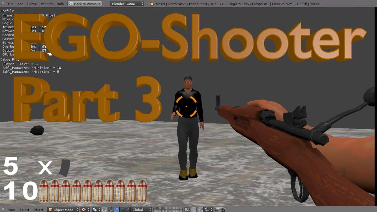 Blender Tutorial - EGO-Shooter Part 3 - Blender Game Engine 3d Tutorial