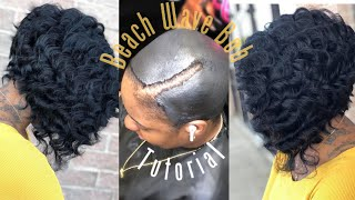 How To Do A  Quickweave Curly Beach Wave Bob    No Leave Out On A Protective Cap   Detailed Tutorial