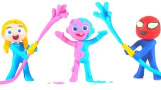 Kids Playing With Blue And Pink Color Water ❤ Cartoons For Kids