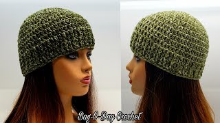 How To Crochet A Beanie Hat | Back To Basics Beanie | Bag O Day Crochet Tutorial #597