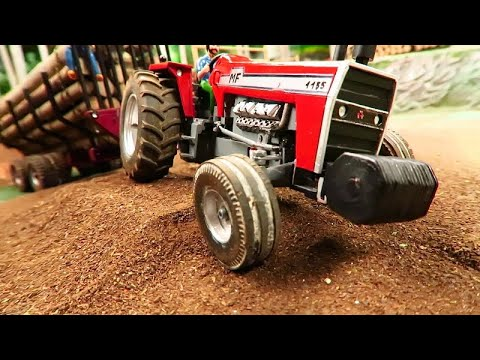Rc Tractor stuck/Remote controlled TRAKTOR PULLING HEAVY LOAD IN MUD/Rc toy action