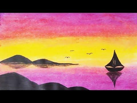 Pastel Boya Ile Kolay Manzara Resmi Nasıl çizilireasy Pastel Paint
