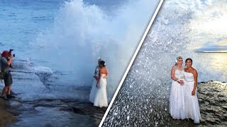 Wave Leaves Newlyweds Soaking Wet as They Pose for Wedding Photos
