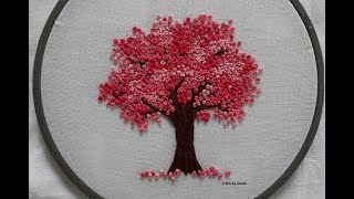 Cherry Blossom Tree - Hand Embroidery - French Knot Flowers