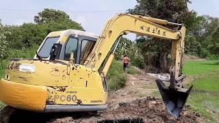Komatsu pc60-7 ซื้อเก่านอกมา บุ้งกี้สโลป เทเลอร์ JUMBO ดอนเจดีย์ สุพรรณ excavator EP.5565