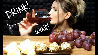 ASMR DRINK WINE WITH FRUIT , EATING SOUNDS , ASMR MOLLY