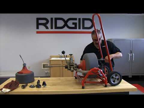 How to remove and reinstall the cart on the RIDGID K3800 drum machine