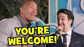 """You're Welcome"" Live By Dwayne Johnson & Lin-Manuel Miranda At Moana World Premiere"