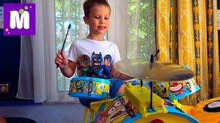Барабанная установка Спанч Боб Мечта Макса устраиваем Рок Концерт с гитарой Играем на барабанах
