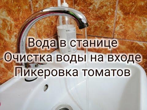 Вода в станице Новодеревянковской Краснодарского края, очистка воды на входе, рассада, пикировка