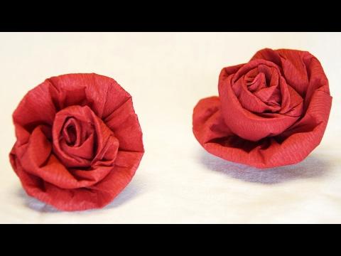 Blumen basteln: Rose aus Krepppapier, Feinkrepp basteln... How to make crepe paper roses flowers...
