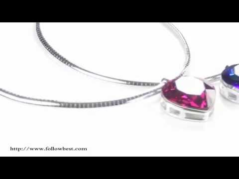 Wine Red Heart Of The Ocean Crystal Solitaire Necklace