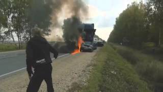 Страшная авария легковушка в лоб с фурой!  18+