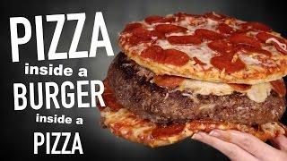 PIZZA INSIDE A BURGER INSIDE A PIZZA