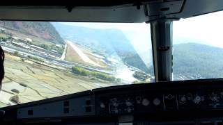 preview picture of video 'A319 cockpit landing at RWY 15 in Paro, Bhutan'
