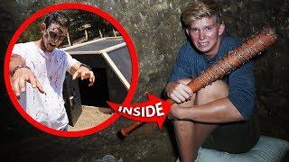 Surviving OVERNIGHT in Underground Apocalypse Survival Bunker!! *ZOMBIES VS BUNKER*