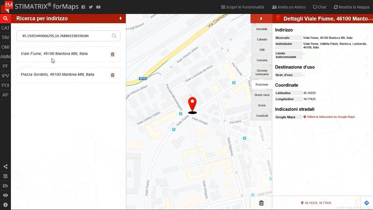 Ricerche tramite indirizzo e coordinate con STIMATRIX® forMaps