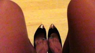 Secretary Shoeplay And Dangling   Nylons And New Flat Leather Pumps
