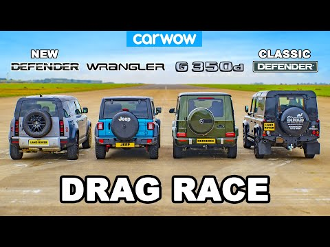 Mercedes G350 vs Jeep vs NEW & OLD Defender: DRAG RACE!
