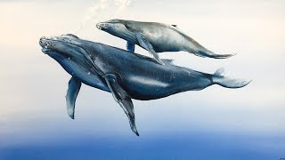 Whales underwater painting in Watercolors