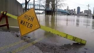 Cincinnati flood 2018 Drone fly over