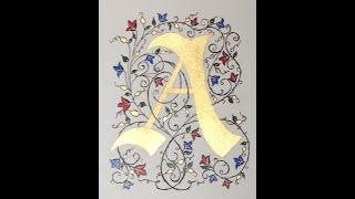 Gold Metal Leaf On Illuminated Calligraphy Manuscript