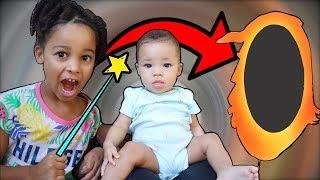 Magic Wand Makes Baby Sister Disappear!