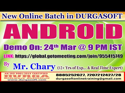 ANDROID Online Training @ DURGASOFT - YouTube