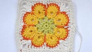 African Flower Granny Square Häkeln Quadrat видео смотреть
