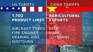 Battle lines drawn in fierce US v China trade war | ITV News